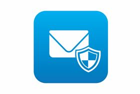 A Email Icon With Shield On Blue Background