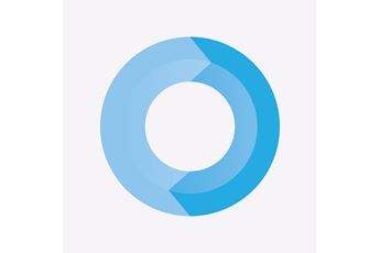 A Coloured Blue Donut Chart Showing Arrows