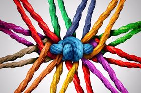 Multicoloured Ropes Tied Together In A Knot