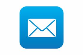 A Email Icon On Blue Background